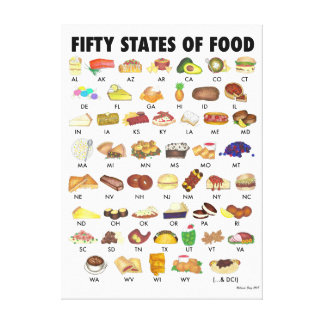 FIFTY STATES OF FOOD United States America USA Art Canvas Print