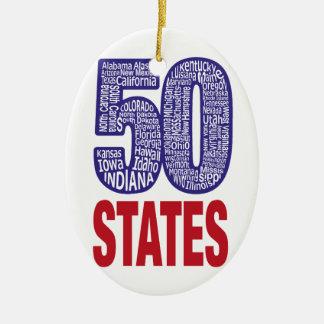 Fifty United States of America Ceramic Ornament