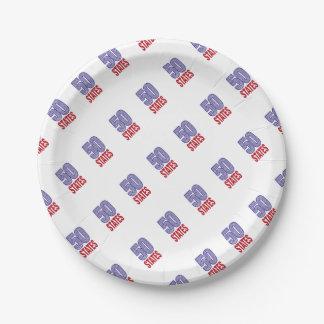 Fifty United States of America Paper Plate