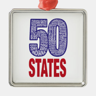 Fifty United States of America Silver-Colored Square Ornament