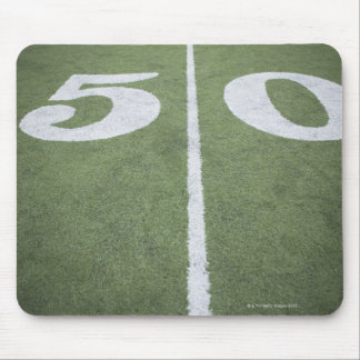 Fifty yard line on sports field mouse pad