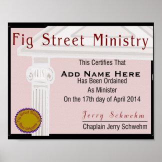 Fig Street Ministry Member Certificate Poster