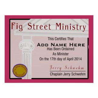 Fig Street Ministry Member Certificate Posters