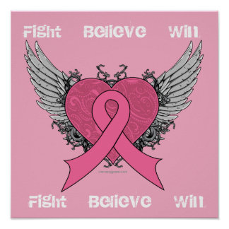 Fight Believe Win - Breast Cancer Poster