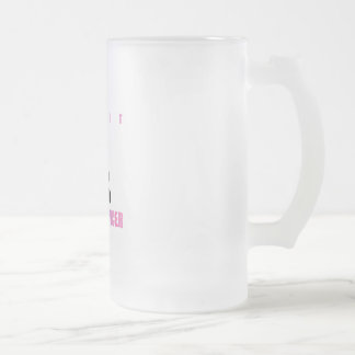 Fight breast cancer- pink ribbon on a womans body frosted glass beer mug