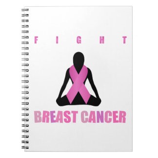 Fight breast cancer- pink ribbon on a womans body spiral notebook