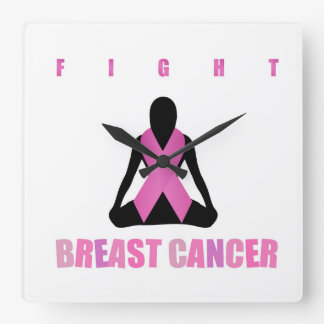 Fight breast cancer- pink ribbon on a womans body square wall clock
