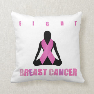 Fight breast cancer- pink ribbon on a womans body throw pillow