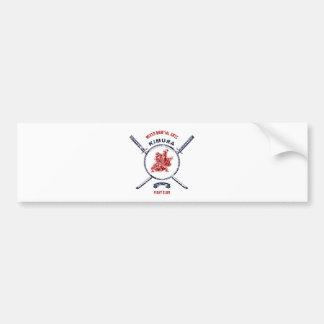 Fight Club Grunge print with samurai swords Bumper Sticker