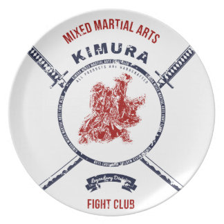 Fight Club Grunge print with samurai swords Party Plate