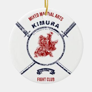 Fight Club Grunge print with samurai swords Round Ceramic Ornament