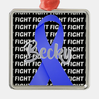 Fight Esophageal Cancer Periwinkle Ribbon Metal Ornament