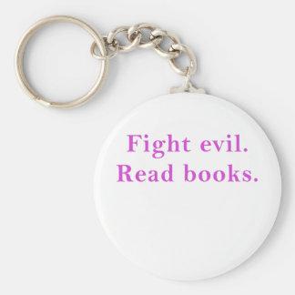 Fight Evil Read Books Basic Round Button Keychain