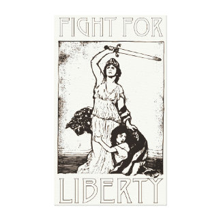 FIght for Liberty! Lady Liberty with Sword - Black Canvas Print