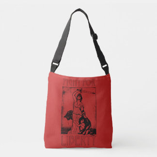FIght for Liberty! Lady Liberty with Sword - Black Crossbody Bag
