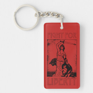 FIght for Liberty! Lady Liberty with Sword - Black Keychain