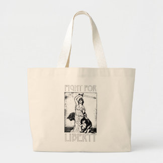 FIght for Liberty! Lady Liberty with Sword - Black Large Tote Bag