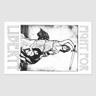 FIght for Liberty! Lady Liberty with Sword - Black Sticker