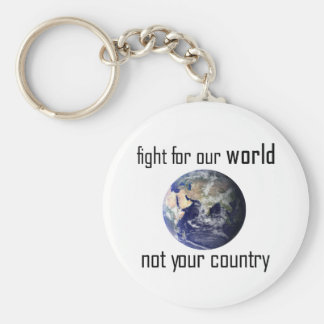 Fight for our world, not your country keyring