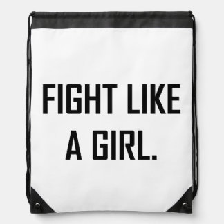 Fight Like A Girl Drawstring Bag