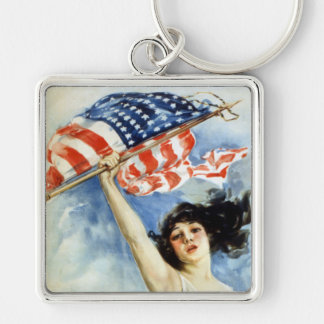 Fight Or Buy Bonds, Vintage WWI Poster Silver-Colored Square Keychain