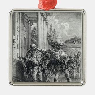 Fight scene Silver-Colored square ornament