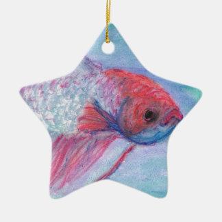 Fighter Fish Ceramic Ornament