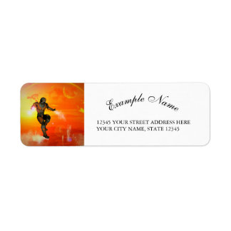 Fighter in the sunset return address label