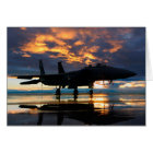 Fighter Jet Airplane at Sunset Military Gifts Card