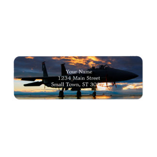 Fighter Jet Airplane at Sunset Military Gifts Return Address Label