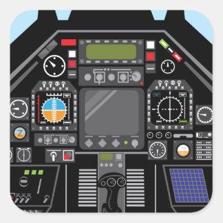 Fighter Jet Cockpit Square Sticker