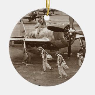 Fighter Pilots Training on P-47 Thunderbolts Ceramic Ornament
