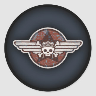 Fighter Pirate Round Sticker
