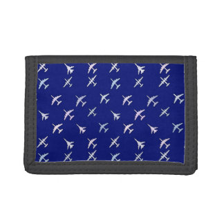 Fighter planes, on navy blue tri-fold wallet