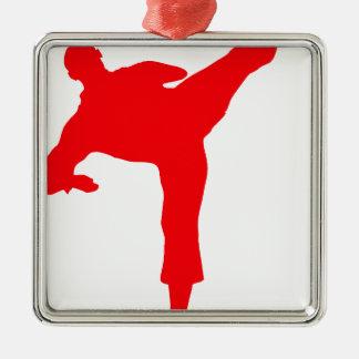 Fighter-talk Silver-Colored Square Ornament