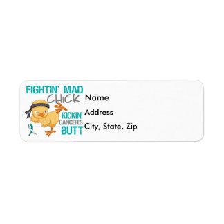 Fightin Chick Cervical Cancer Custom Return Address Label