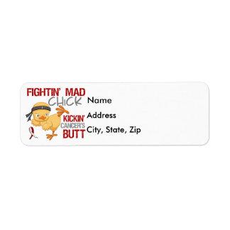 Fightin Chick Throat Cancer Return Address Label