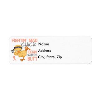 Fightin' Mad Chick Uterine Cancer Return Address Labels