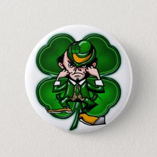 Fighting 4 Leaf Leprechan Button