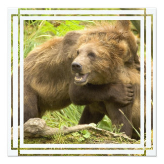"Fighting Bears Print 5.25"" Square Invitation Card"