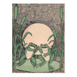 Fighting Green Frogs Lily Pad Postcard