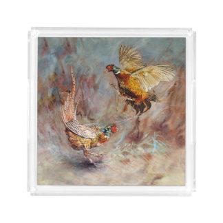 fighting pheasants art acrylic tray