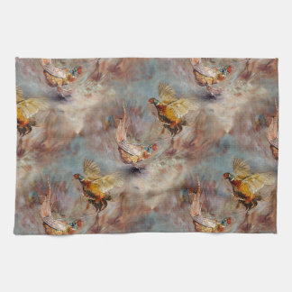 fighting pheasants art kitchen towel