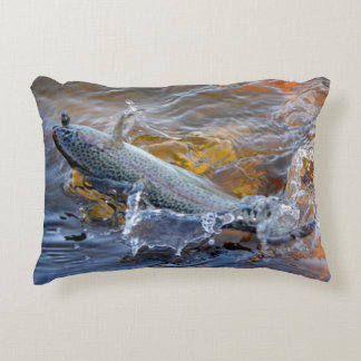Fighting Rainbow Trout Decorative Pillow