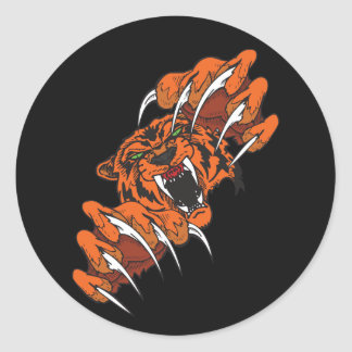 Fighting Tiger Classic Round Sticker