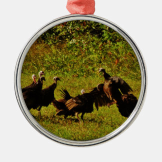 Fighting Wild Turkeys in The Smoky Mountains Silver-Colored Round Ornament