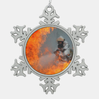 Fighting Wildfires Snowflake Pewter Christmas Ornament