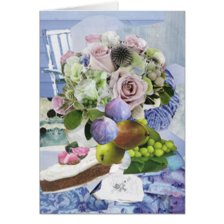 Figs, Floral and Pears Greeting Card