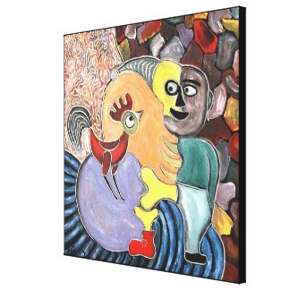 Figure and a rooster by rafi talby canvas print