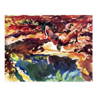 Figure and Pool by Sargent Postcard